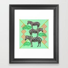 zebras in the jungle Framed Art Print