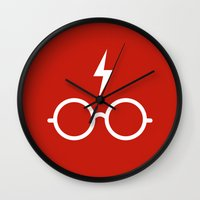 harry potter Wall Clocks featuring Harry Potter Minimal by cat&wolf