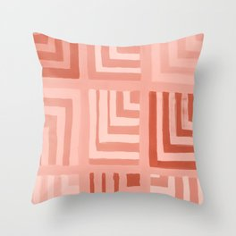 Painted Color Block Squares in Peach Throw Pillow