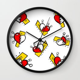 Hearts with Stitches - Red Yellow Wall Clock