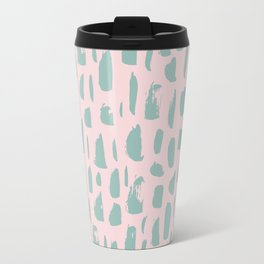 Handdrawn mint drops and dots on pink -Mix & Match with Simplicty of life Travel Mug