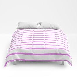 Horizontal Lines (Violet/White) Comforters