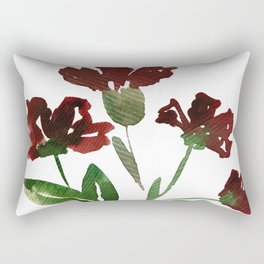 Burgundy Watercolor Carnations Rectangular Pillow