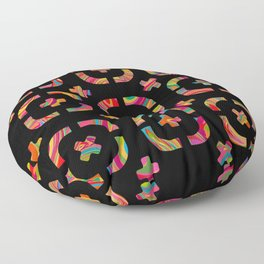 Psychedelic Curves + Crosses on Black (pattern) Floor Pillow