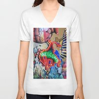 welcome V-neck T-shirts featuring Welcome by John Turck