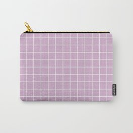 Pink lavender - violet color - White Lines Grid Pattern Carry-All Pouch