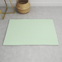Pastel Green Horizontal Line Pattern 2 on Linen White Pairs to 2020 Color of the Year Neo Mint Rug