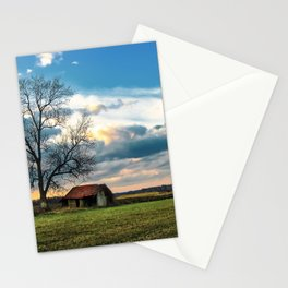 An old hut in the field Stationery Cards