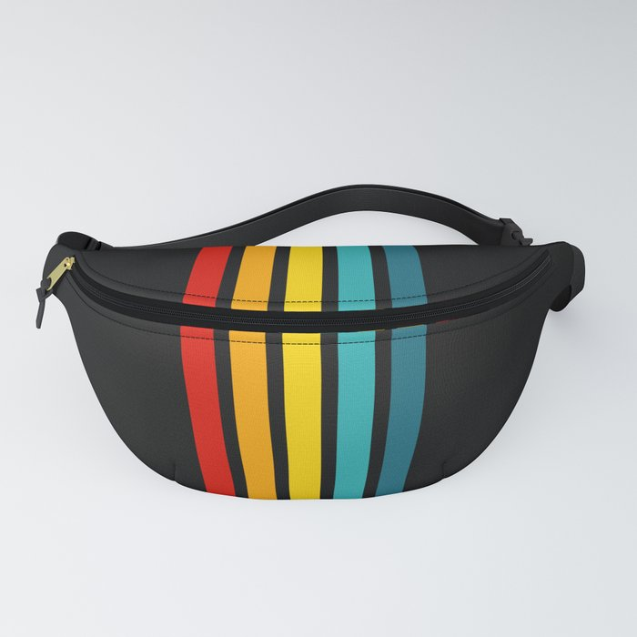 Colorful Trendy Lines Black Fanny Pack