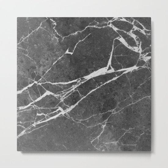 Matte black marble Metal Print
