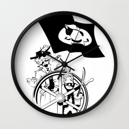 Cap'n at the helm Wall Clock