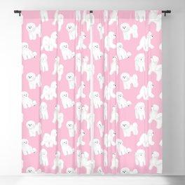 Bichon Frise Pattern (Pink Background) Blackout Curtain