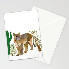 Mountain Lion in Desert Stationery Cards