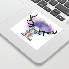 Fille Cerf Sticker