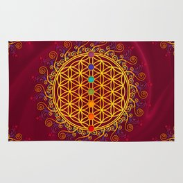 FLOWER OF LIFE, CHAKRAS, SPIRITUALITY, YOGA, ZEN, Rug