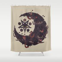 pentagram Shower Curtains featuring The Dark Moon Compels You to Fuck Shit Up by Hector Mansilla