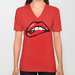 Biting the lower lip. Unisex V-Neck