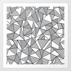 Abstract Lines With Grey Blocks Art Print