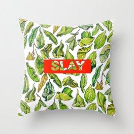 slay tea slay! // watercolor tea leaf pattern with millennial slang Throw Pillow