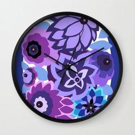 CAMBRIA, ART DECO FLORALS: NEWPORT BLUES Wall Clock