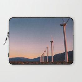 California Desert Windmills at Sunset with Mountain Vistas Laptop Sleeve