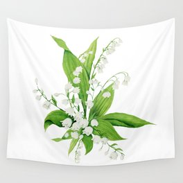 White Lilly Bouquet Wall Tapestry