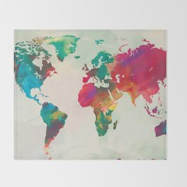Watercolor World Map Throw Blanket