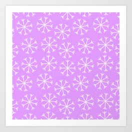 Hand painted modern lilac white Christmas snow flakes Art Print