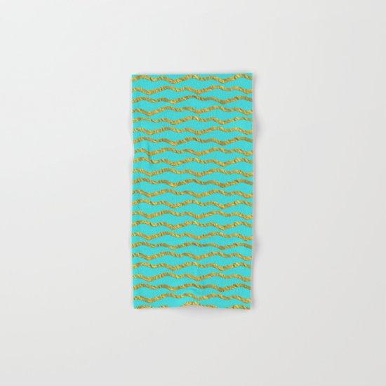 Golden waves - Abstract geometrical pattern on aqua backround Hand & Bath Towel
