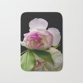 white and pink roses Bath Mat