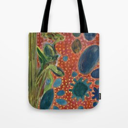 Falling Rocks on dotted Background  Tote Bag