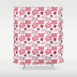 Snail mail love letter pattern in pink Shower Curtain