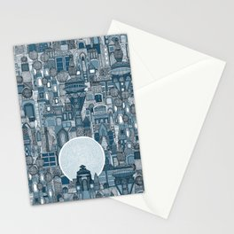 space city mono blue Stationery Cards