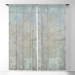 French Blue Vintage Wallpaper Blackout Curtain