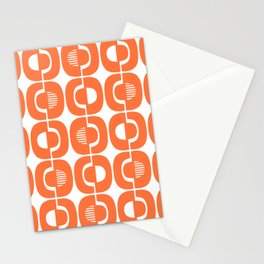 Retro Mid Century Modern Pattern 339 Orange Stationery Cards