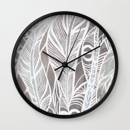 Earthy Feathers Wall Clock
