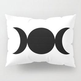 Triple Goddess Symbol - Black on White Pillow Sham