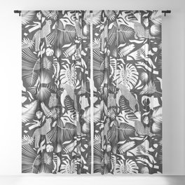 Surreal Wildlife / Black and White Sheer Curtain
