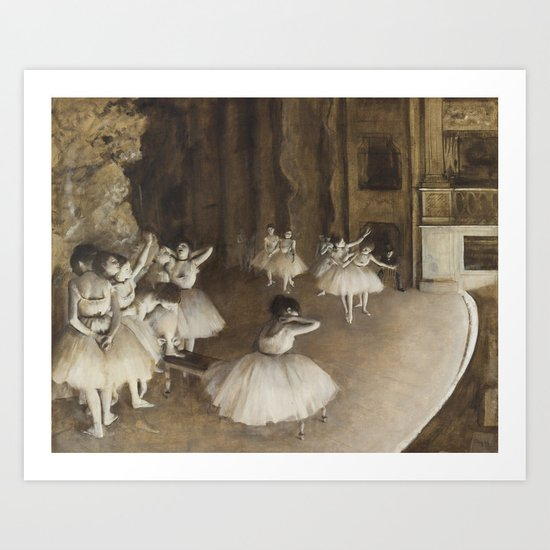 Edgar Degas, Ballet Rehearsal on Stage by fineearthprints