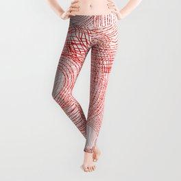 Pink circles abstract lines hand drawn illustration pattern Leggings