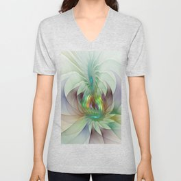 Colorful Shapes, Modern Fractals Art Unisex V-Neck