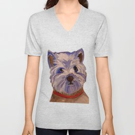 West highland terrier Westie dog love Unisex V-Neck