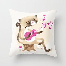 Miko playing ukulele Throw Pillow