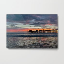 Huntington Beach Sunset  1/26/14 Metal Print