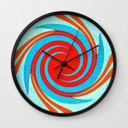 Colorful red and blue spiral swirling elliptical constellation star galaxy abstract design Wall Clock