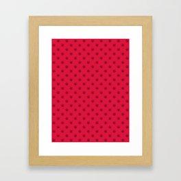 Black on Crimson Red Snowflakes Framed Art Print