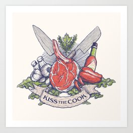 Kiss the cook Art Print