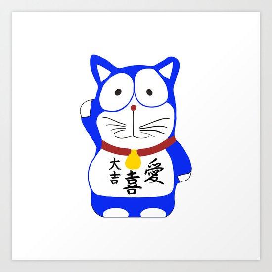 Maneki Neko - Japanese Lucky Cat Art Print