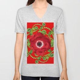 DECORATIVE RED SPRING FLOWER & GREEN FERNS SPIRALS Unisex V-Neck