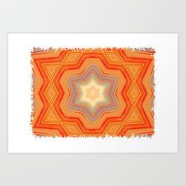 Orange geometrical pattern Art Print